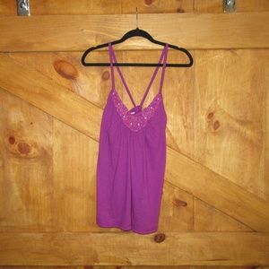 American Eagle- Fuchsia Cami with bead/lace detail